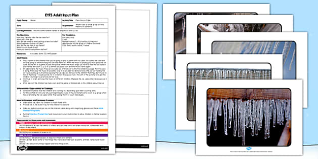 Pass the Ice Cube EYFS Adult Input Plan - EYFS, planning, early years, winter, melting, materials, counting, recite numbers