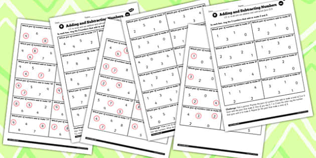 Mixed Number Facts to 20 Finding Pairs Worksheet Pack - pack