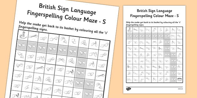 British Sign Language Fingerspelling Colour Maze S - colour, maze