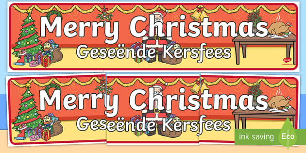 Merry Christmas Display Banner English/Afrikaans - Merry Christmas Display Banner - merry christmas, display banner, banner, banner for display, classr