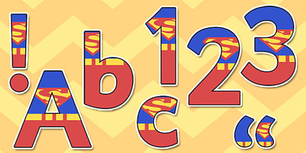 Superhero Man Themed Display Lettering - superhero man, display