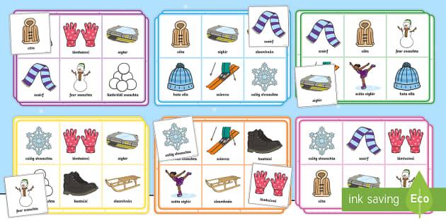 Winter Bingo Gaeilge - ROI - An Geimhreadh, irish, gaeilge, winter, Irish