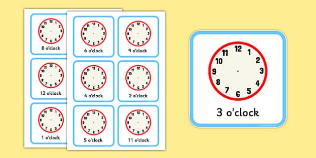 Write the Time O'clock Cards - write, time, o'clock, cards, clocks