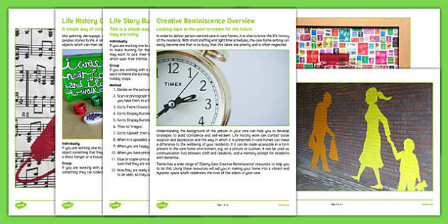 Elderly Care Creative Reminiscence Guidance - Elderly, Reminiscence, Care Homes, Book, New Residents