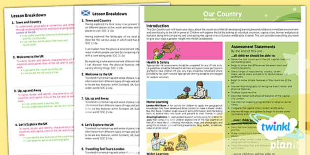 Planit - Geography KS1 - Our Country Planning Overview CfE - Curriculum for excellence, Scottish, geography, KS1, key stage 1, topic, planning, unit
