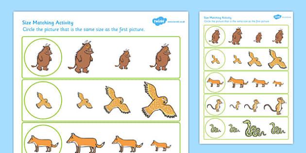 Gruffalo Themed Size Matching Worksheet - gruffalo, size matching