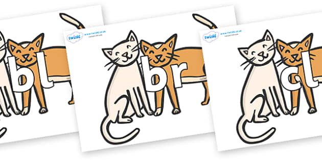 Initial Letter Blends on Cats - Initial Letters, initial letter, letter blend, letter blends, consonant, consonants, digraph, trigraph, literacy, alphabet, letters, foundation stage literacy