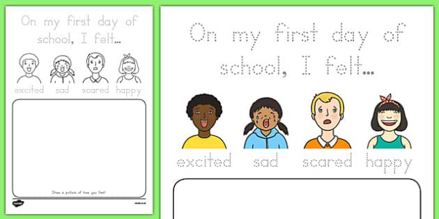 Back to School Feelings Activity Sheet, worksheet