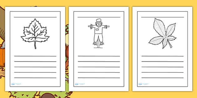 Autumn Writing Frames - autumn, writing frames, page borders, lined pages, writing guides, guidelines, seasons, autumn page borders, season page borders