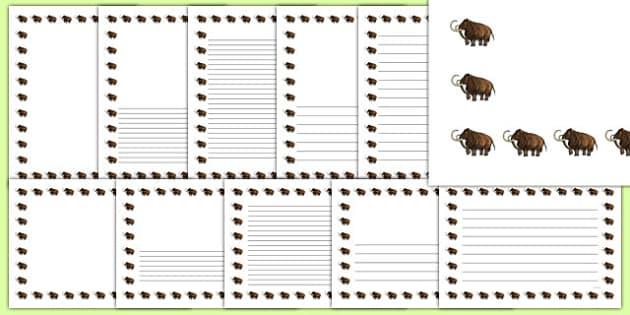 Wooly Mammoth Portrait Page Borders- Portrait Page Borders - Page border, border, writing template, writing aid, writing frame, a4 border, template, templates, landscape