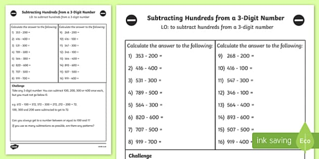 Subtracting Hundreds from 3 Digit Number Worksheet Year 3 – Subtracting Three Digit Numbers Worksheets