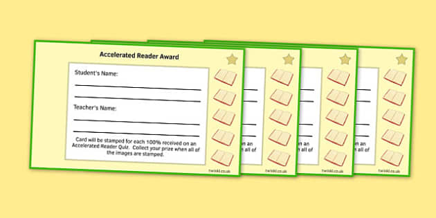 Incentive 5 Stamp Cards to Support the Teaching on Accelerated Reader - English, KS3, KS2, Reading, Accelerated Reader, Accelerated Reading, Incentive, Reward Card