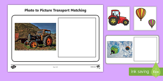 Workstation Pack: Photo to Picture Transport Matching Activity Pack