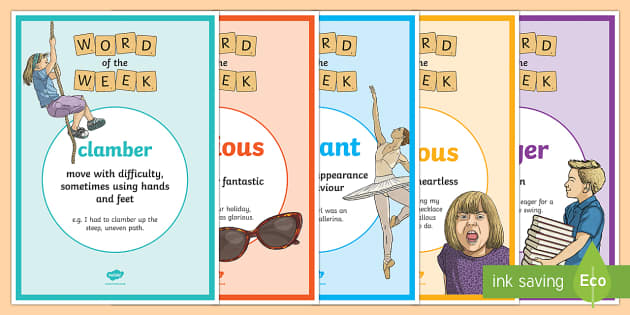 Word of the Week Display Posters - vocabulary, wow words, writing, KS2, posters, display.