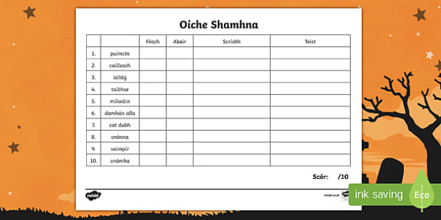 Oíche Shamhna Spelling List Activity Sheets Gaeilge