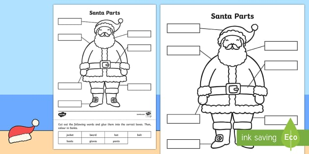 Christmas Santa Parts Activity Sheet
