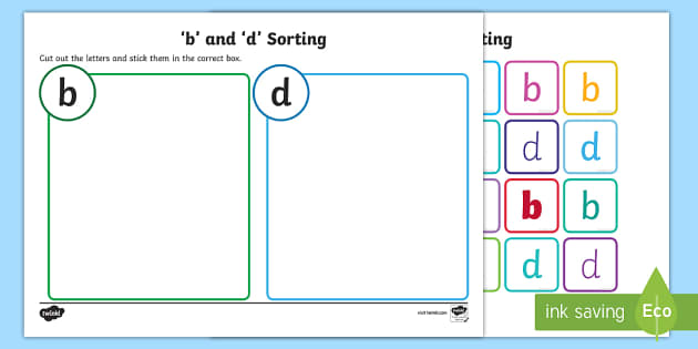 Lowercase b and d Confusing Letter Sort Activity - letters, sorting
