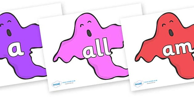 Foundation Stage 2 Keywords on Ghosts (Multicolour) - FS2, CLL, keywords, Communication language and literacy,  Display, Key words, high frequency words, foundation stage literacy, DfES Letters and Sounds, Letters and Sounds, spelling