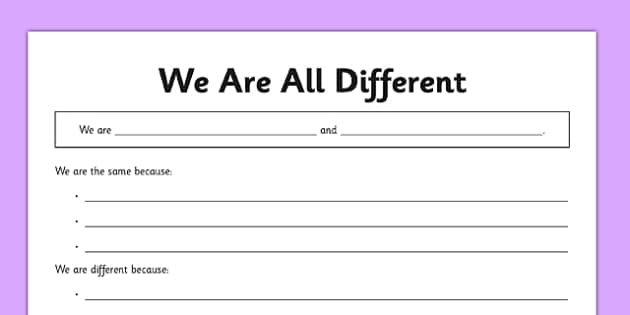 We Are All Different Activity Sheet - cfe, curriculum for excellence, CfE, Health, different, all, activity, sheet, worksheet