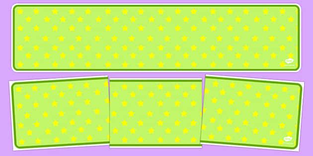 Lime Green with Yellow Stars Editable Display Banner - lime green, yellow stars, editable, display banner