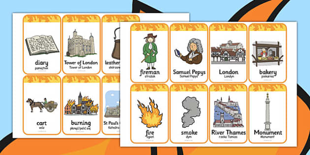 The Great Fire of London Flashcards Polish Translation - polish