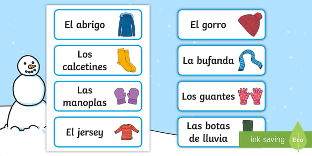 Winter Clothes Labels Spanish - Winter, KS2, clothes, labels, classroom, organisation,Spanish