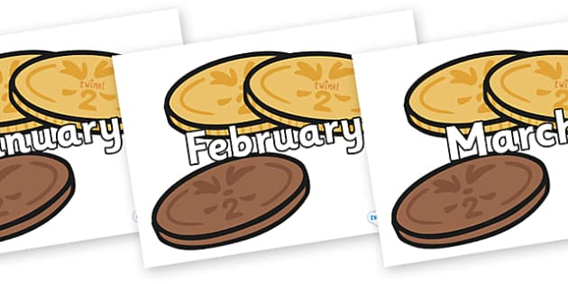 Months of the Year on Chocolate Coins - Months of the Year, Months poster, Months display, display, poster, frieze, Months, month, January, February, March, April, May, June, July, August, September