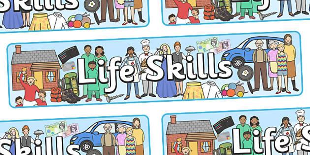 Life Skills Display Banner - life skills, life, skills, display, banner, sign, poster, cooking, knitting, fixing, helping