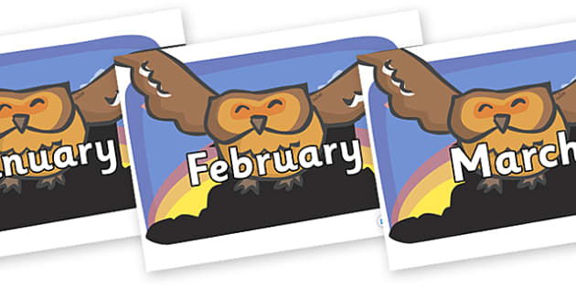 Months of the Year on Owls - Months of the Year, Months poster, Months display, display, poster, frieze, Months, month, January, February, March, April, May, June, July, August, September