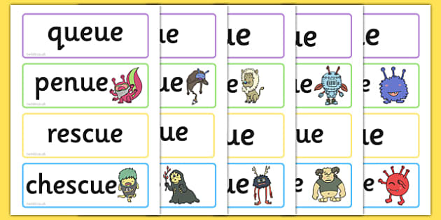 Phase 5 'ue' Flashcards Real and Nonsense Words - phase 5, flashcards