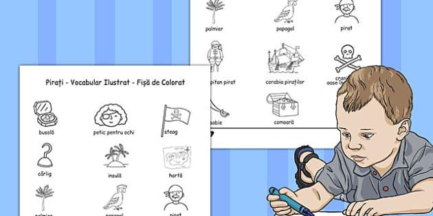 Pirați Dictionar de Colorat - preda integrat, clasa I, comunicare, Romanian