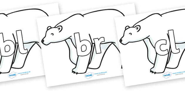 Initial Letter Blends on Polar Bears - Initial Letters, initial letter, letter blend, letter blends, consonant, consonants, digraph, trigraph, literacy, alphabet, letters, foundation stage literacy