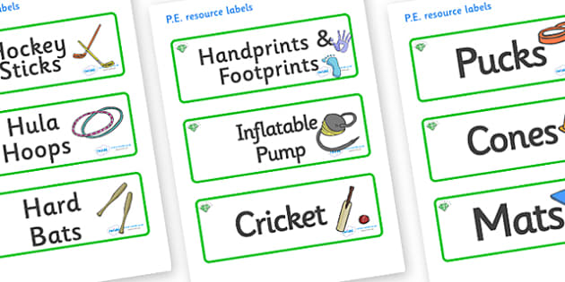 Emerald Themed Editable PE Resource Labels - Themed PE label, PE equipment, PE, physical education, PE cupboard, PE, physical development, quoits, cones, bats, balls, Resource Label, Editable Labels, KS1 Labels, Foundation Labels, Foundation Stage La