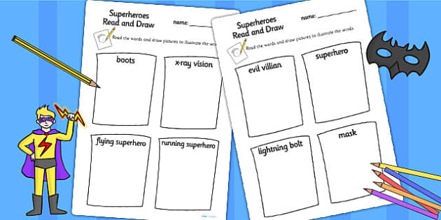 Superhero Themed Read and Draw Worksheet - superheroes, draw