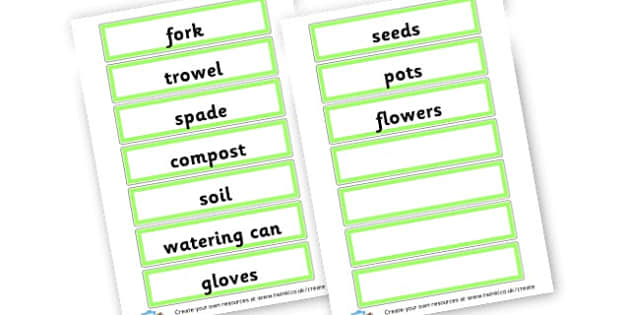 Gardening Word Cards - Garden Centre Classroom Signs and Labels Primary Resources, Garden