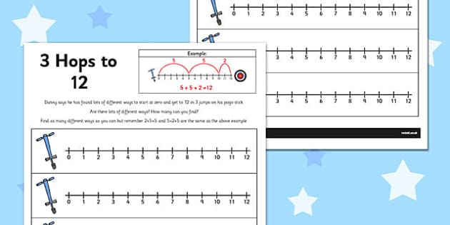 3 Hops to 12 Activity Sheet - number line, activity, 3 hops, 12, worksheet