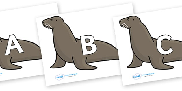 A-Z Alphabet on Sealions - A-Z, A4, display, Alphabet frieze, Display letters, Letter posters, A-Z letters, Alphabet flashcards