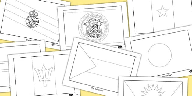 53 Commonwealth Country Flag Colouring Sheets Pack - countries