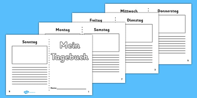 Mein Tagebuch Writing Frame German - german, 7 day diary, writing frame, diary, journal, week, planner, my diary, writing frame, 7 day, seven day, booklet, page border, writing template