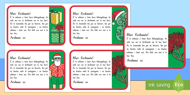 Te Reo Māori Christmas Note Labels