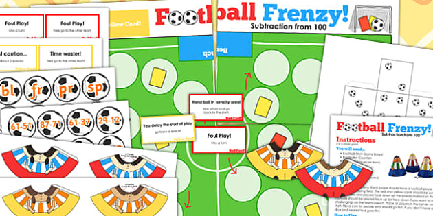Subtraction From 100 Football Board Game - subtract, world cup