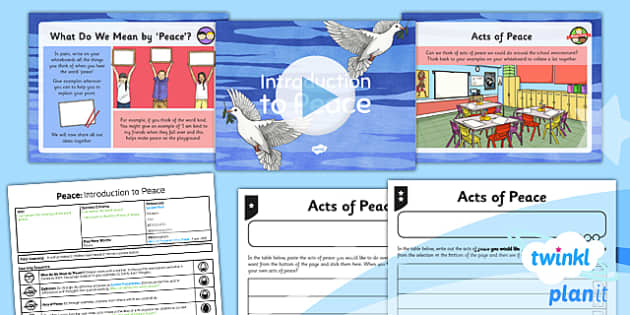 PlanIt - RE Year 5 - Peace Lesson 1: Introduction to Peace Lesson Pack - Inner Peace, Community Cohesion, Mindfulness, Shalom, Eastern, Western
