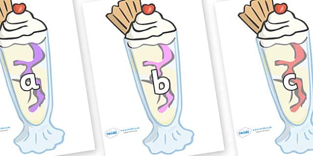 Phase 2 Phonemes on Ice Cream Sundaes - Phonemes, phoneme, Phase 2, Phase two, Foundation, Literacy, Letters and Sounds, DfES, display