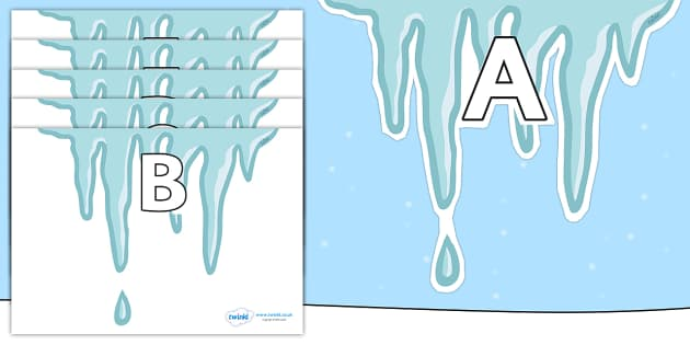A-Z Alphabet on Icicles - A-Z, A4, display, Alphabet frieze, Display letters, Letter posters, A-Z letters, Alphabet flashcards