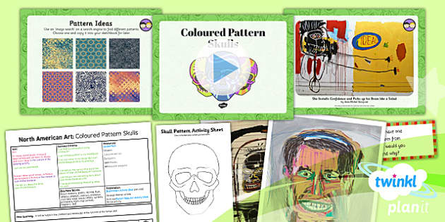 PlanIt - Art UKS2 - North American Art Lesson 5: Coloured Pattern Skulls Lesson Pack