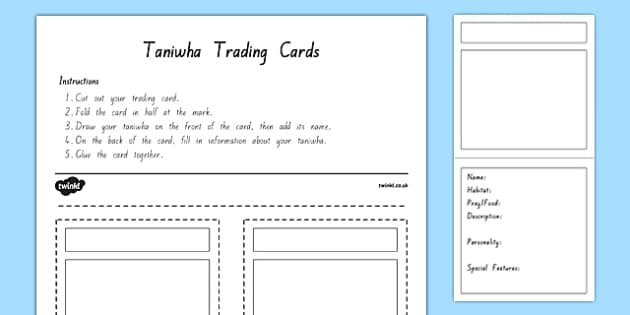 Taniwha Trading Cards Activity Sheet, worksheet