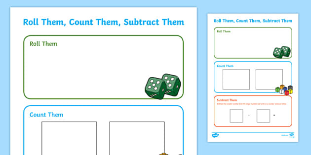 Roll Them, Count Them, Subtract Them Activity Sheet