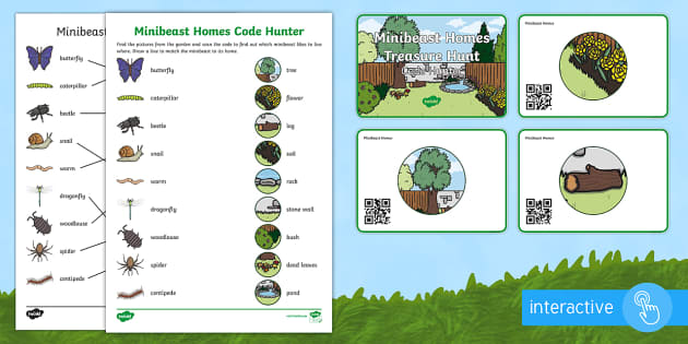 Minibeast Homes Code Hunter - QR Codes, minibeasts, habitats, homes, garden, insects