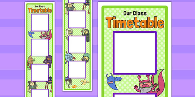 Monster Themed Vertical Visual Timetable Display - monster, visual, timetable