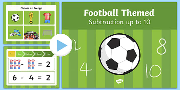 Football Themed Subtraction to 10 PowerPoint - football, subtraction, 10, powerpoint